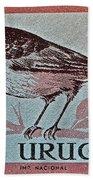 Uruguay Bird Stamp - Circa 1962 Beach Towel