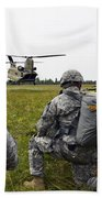 U.s. Army Paratroopers Prepare To Board Beach Towel