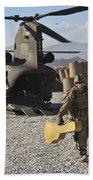 U.s. Army Sergeant Helps Unload Band Beach Towel