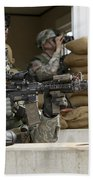 U.s. Army Soldier Looks Down The Scope Beach Towel