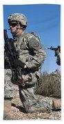 U.s. Army Soldiers Scan The Terrain Beach Towel