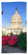 Us Capitol And Red Azaleas Beach Towel