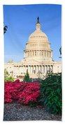 Us Capitol And Red Azaleas Beach Sheet