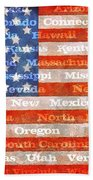 Us Flag With States Beach Towel