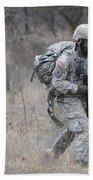 U.s. Soldiers Don Chemical Warfare Gear Beach Towel