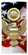 U. S. A. Great Seal In Gold Over American Flag  Beach Towel