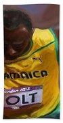 Usain Bolt 2012 Olympics Beach Towel by Vannetta Ferguson