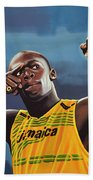 Usain Bolt Painting Beach Towel