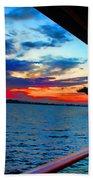 Uss Midway Sunset Beach Towel