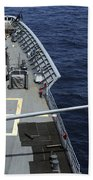 Uss Philippine Sea Fires Its Mk 45 Beach Towel by Stocktrek Images