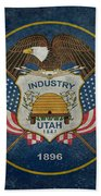 Utah State Flag Vintage Version Beach Towel