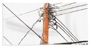 Utility Pole Hung With Electricity Power Cables Beach Towel