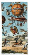 Utopian Flying Machines 19th Century Beach Towel