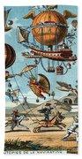 Utopian Flying Machines 19th Century Beach Sheet