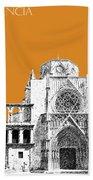 Valencia Skyline Valencia Cathedral - Dark Orange Beach Towel