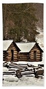 Valley Forge Cabins In Snow 2 Beach Towel