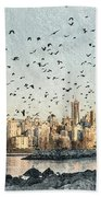 Vancouver Skyline With Crows Beach Towel