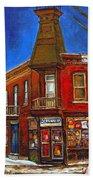 Vanishing Montreal Landmark Depanneur Ste. Emilie And Bourget Montreal Painting By Carole Spandau  Beach Towel