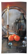Vanitas Still Life By Candlelight With Clementines 1 Beach Towel