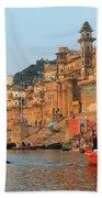 Varanasi From The Ganges River Beach Towel