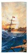 Vasco Da Gama's Ships Rounding The Cape Beach Towel by English School