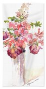 Vase Of Dried Flowers Beach Sheet