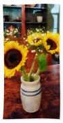 Vase Of Sunflowers Beach Towel