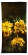 Vase Of Yellow Tulips Beach Towel