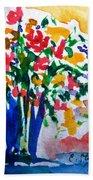 Vase With Flowers Beach Towel