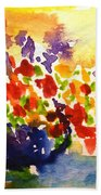 Vase With Multicolored Flowers Beach Towel