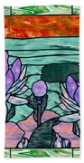 Vector Illustration Of Flower Sunflower In Stained Glass Window  Beach Towel