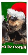 Vector Santa Paws Is Coming To Town Christmas Greeting Beach Towel