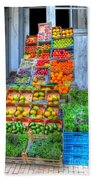Vegetable And Fruit Stand Beach Towel