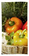 Vegetables And Aromatic Herbs In The Kitchen Beach Towel