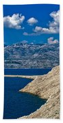 Velebit Mountain From Island Of Pag Beach Towel