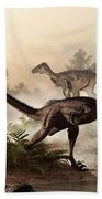 Velociraptors Prowling The Shoreline Beach Towel