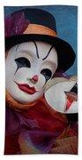 Venetian Carnival - Portrait Of Clown With Mask Beach Towel