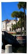 Venetian Style Bridge And Villa In Miami Beach Towel