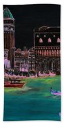 Venice At Night Beach Towel