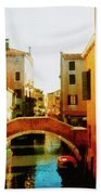 Venice Italy Canal With Boats And Laundry Beach Towel