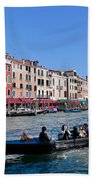 Venice Italy Gondola With Tourists Floats On Grand Canal Beach Towel