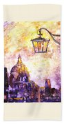 Venice Italy Watercolor Painting On Yupo Synthetic Paper Beach Towel