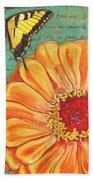 Verdigris Floral 1 Beach Towel by Debbie DeWitt