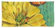 Verdigris Floral 2 Beach Towel