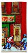 Verdun Art Winter Street Scenes Pierrette Patates Resto Hockey Painting Verdun Montreal Memories Beach Towel by Carole Spandau