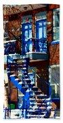 Verdun Duplex Stairs With Birch Tree Montreal Winding Staircases Winter City Scene Carole Spandau Beach Sheet