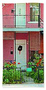 Verdun Flower Boxes Pink House Fenced Front Garden Red Flowers Staircase Scenes Carole Spandau Beach Towel