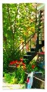 Verdun Stairs Red Flowers On Winding Staircase Tall Shade Tree Montreal Summer Scenes Carole Spandau Beach Towel