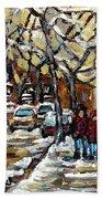 Verdun Winter Row Houses In January Montreal Paintings Time For A Walk Carole Spandau Beach Towel