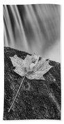 Vermont Autumn Maple Leaf Black And White Beach Towel